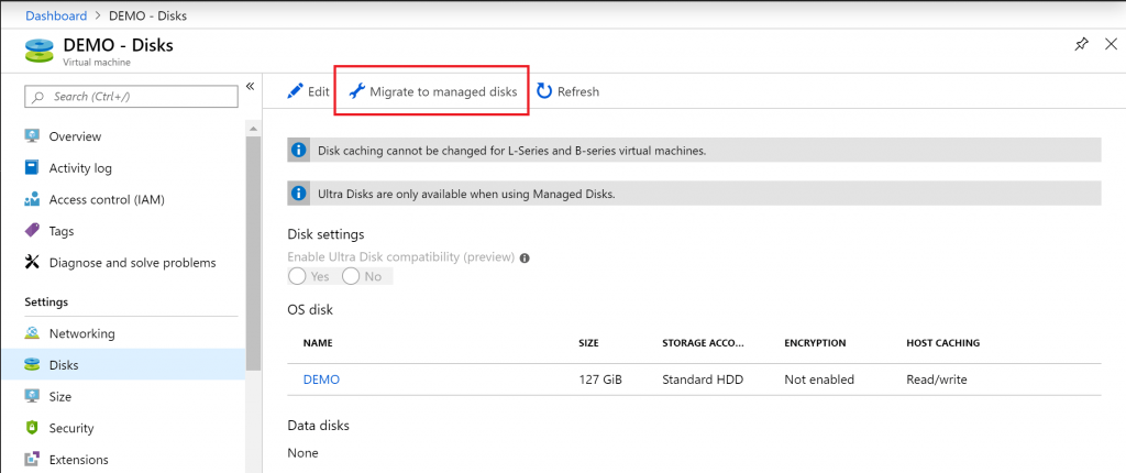 azure vm, managed disk